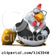 3d Chubby White Business Chicken Traveler On A White Background