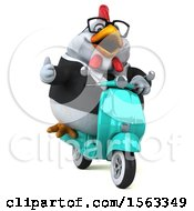 Clipart Of A 3d Chubby White Business Chicken Riding A Scooter On A White Background Royalty Free Illustration