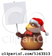 Clipart Of A 3d Chubby Brown Christmas Chicken Holding A Sign On A White Background Royalty Free Illustration