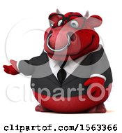 3d Red Business Bull Presenting On A White Background