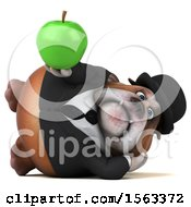 3d Gentleman Or Business Bulldog Holding An Apple On A White Background