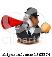 3d Gentleman Or Business Bulldog Holding An Orange On A White Background