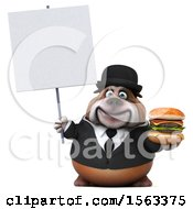 3d Gentleman Or Business Bulldog Holding A Burger On A White Background