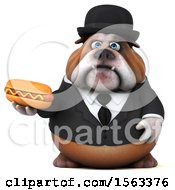 3d Gentleman Or Business Bulldog Holding A Hot Dog On A White Background