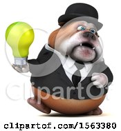 3d Gentleman Or Business Bulldog Holding A Light Bulb On A White Background