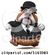 Clipart Of A 3d Gentleman Or Business Bulldog Running On A White Background Royalty Free Illustration