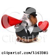 Clipart Of A 3d Gentleman Or Business Bulldog Holding A Heart On A White Background Royalty Free Illustration by Julos