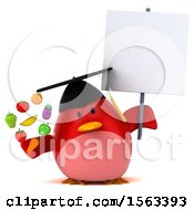 Clipart Of A 3d Red Bird Graduate Holding Produce On A White Background Royalty Free Illustration
