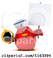 Clipart Of A 3d Red Bird Sailor Holding A Tv On A White Background Royalty Free Illustration