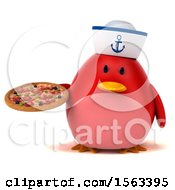 Clipart Of A 3d Red Bird Sailor Holding A Pizza On A White Background Royalty Free Illustration