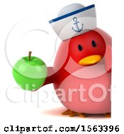 Clipart Of A 3d Red Bird Sailor Holding An Apple On A White Background Royalty Free Illustration