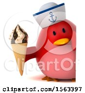Clipart Of A 3d Red Bird Sailor Holding A Waffle Cone On A White Background Royalty Free Illustration