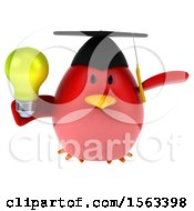 Poster, Art Print Of 3d Red Bird Graduate Holding A Light Bulb On A White Background