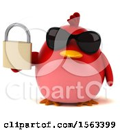 Clipart Of A 3d Red Bird Holding A Padlock On A White Background Royalty Free Illustration
