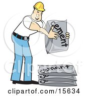 Male Construction Worker In A Yellow Hardhat White T Shirt And Blue Jeans Stacking Bags Of Cement Mix
