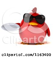 Clipart Of A 3d Red Bird Holding A Plate On A White Background Royalty Free Illustration