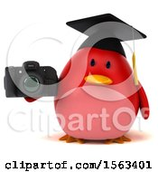 Clipart Of A 3d Red Bird Graduate Holding A Camera On A White Background Royalty Free Illustration