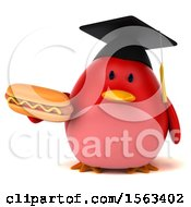 Clipart Of A 3d Red Bird Graduate Holding A Hot Dog On A White Background Royalty Free Illustration