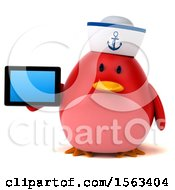 Clipart Of A 3d Red Bird Sailor Holding A Tablet On A White Background Royalty Free Illustration