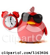 Clipart Of A 3d Red Bird Holding An Alarm Clock On A White Background Royalty Free Illustration