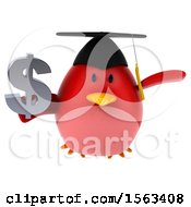 Clipart Of A 3d Red Bird Graduate Holding A Dollar Sign On A White Background Royalty Free Illustration