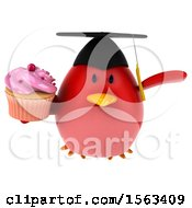 Clipart Of A 3d Red Bird Graduate Holding A Cupcake On A White Background Royalty Free Illustration