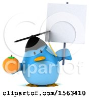 Clipart Of A 3d Blue Bird Graduate Holding An Orange On A White Background Royalty Free Illustration