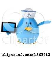 Clipart Of A 3d Blue Bird Sailor Holding A Tablet On A White Background Royalty Free Illustration