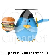 Clipart Of A 3d Blue Bird Graduate Holding A Burger On A White Background Royalty Free Illustration