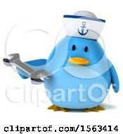Clipart Of A 3d Blue Bird Sailor Holding A Wrench On A White Background Royalty Free Illustration