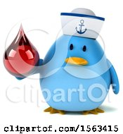 Clipart Of A 3d Blue Bird Sailor Holding A Blood Drop On A White Background Royalty Free Illustration