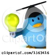 Poster, Art Print Of 3d Blue Bird Graduate Holding A Light Bulb On A White Background