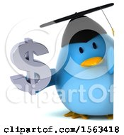 Clipart Of A 3d Blue Bird Graduate Holding A Dollar Sign On A White Background Royalty Free Illustration