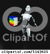 Clipart Of A 3d Feminine Robot Holding Books On A Black Background Royalty Free Illustration
