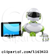 3d Green And White Robot Holding A Tablet On A White Background
