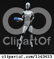 3d Feminine Robot Holding A Pill On A Black Background