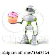 3d Green And White Robot Holding A Cupcake On A White Background
