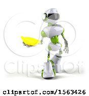 3d Green And White Robot Holding A Banana On A White Background