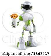 3d Green And White Robot Holding Fries On A White Background