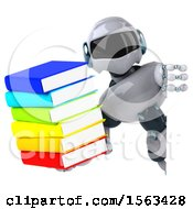 3d Blue And White Robot Holding Books On A White Background