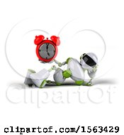 3d Green And White Robot Holding An Alarm Clock On A White Background