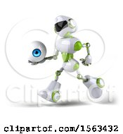 3d Green And White Robot Holding An Eyeball On A White Background