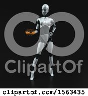 3d Feminine Robot Holding A Donut On A Black Background