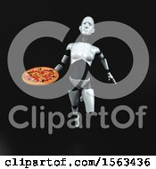 3d Feminine Robot Holding A Pizza On A Black Background