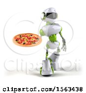 3d Green And White Robot Holding A Pizza On A White Background
