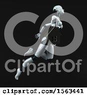 Clipart Of A 3d Feminine Robot Holding A House On A Black Background Royalty Free Illustration