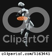 Clipart Of A 3d Feminine Robot Holding A Pizza On A Black Background Royalty Free Illustration
