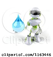 3d Green And White Robot Holding A Water Drop On A White Background