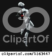 Clipart Of A 3d Feminine Robot Holding Wine On A Black Background Royalty Free Illustration