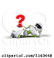 3d Green And White Robot Holding A Question Mark On A White Background
